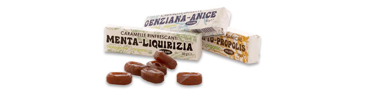 Caramella balsamica ripiena di eucalipto e propoli, menta e liquirizia, genziana e anice.